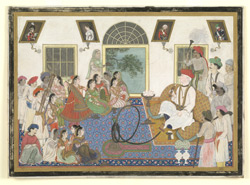 Sir David Ochterlony in Indian dress and smoking a hookah and watching a nautch in his house in Delhi